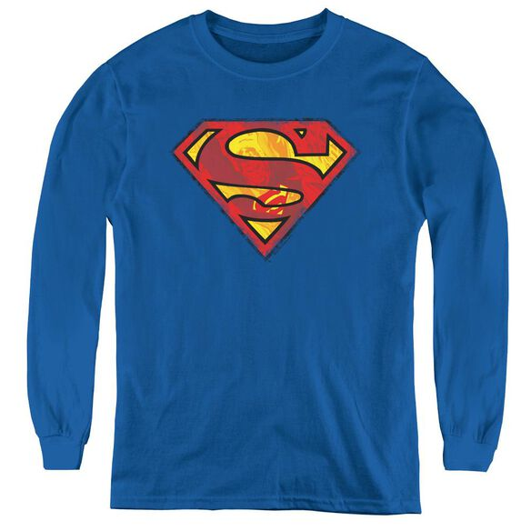 Superman Action Shield - Youth Long Sleeve Tee - Royal Blue