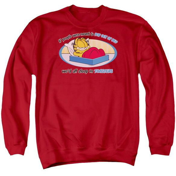 Garfield Pop Out Of Bed - Adult Crewneck Sweatshirt - Red