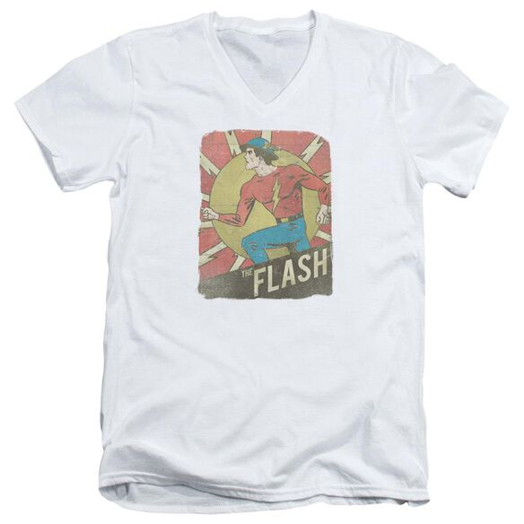 Dc Flash Tattered Poster Short Sleeve Adult V Neck T-Shirt