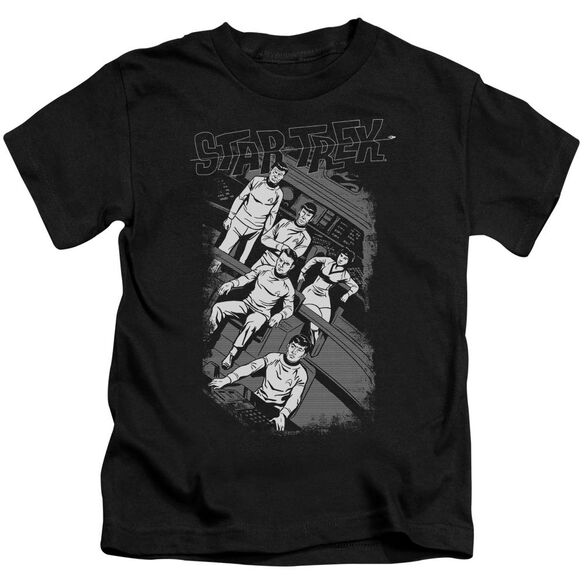 Star Trek Retro Tilted Bridge Short Sleeve Juvenile Black T-Shirt