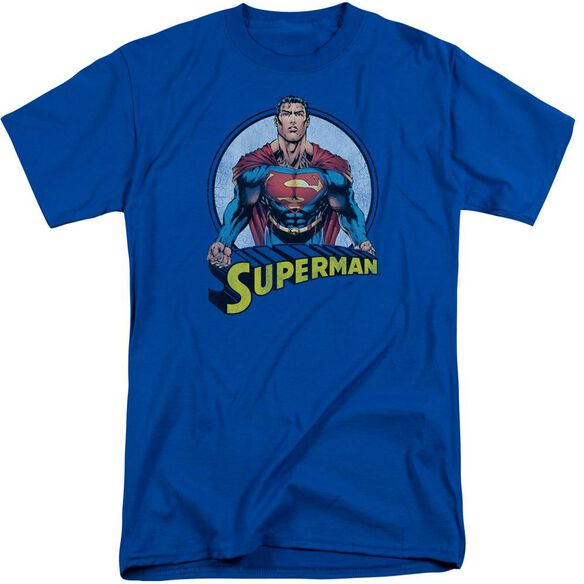 Superman Flying High Again Short Sleeve Adult Tall Royal T-Shirt