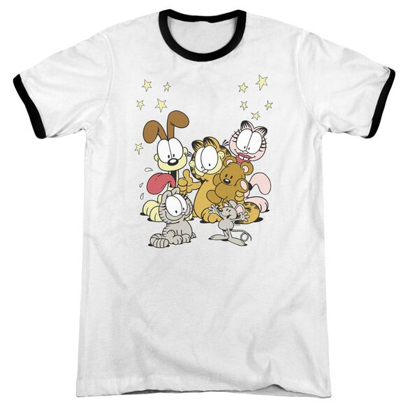 Garfield Friends Are Best Adult Ringer White Black
