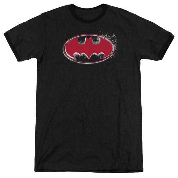 Batman Hardcore Noir Bat Logo Adult Heather Ringer