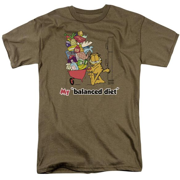 Garfield Balanced Diet Short Sleeve Adult Safari Green T-Shirt