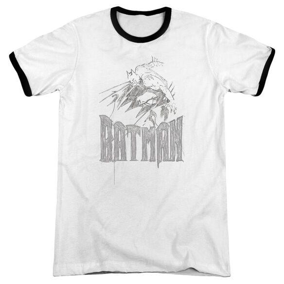 Batman Knight Sketch - Adult Ringer - White/black