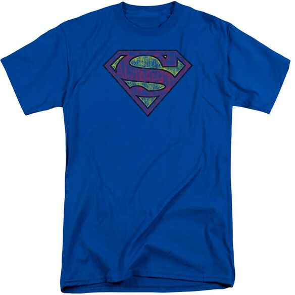 Superman Tattered Shield Short Sleeve Adult Tall Royal T-Shirt