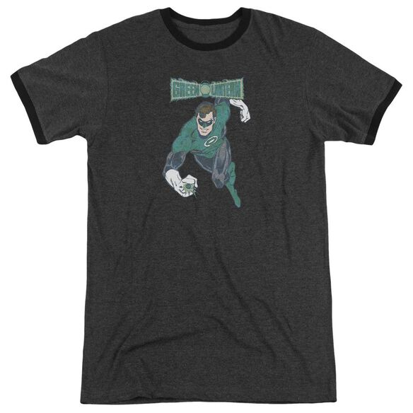 Dco Desaturated Green Lantern Adult Heather Ringer Charcoal