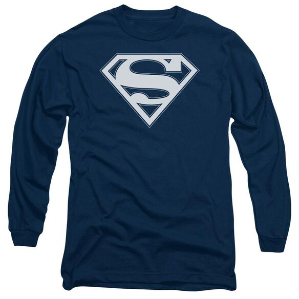 Superman & White Shield Long Sleeve Adult T-Shirt