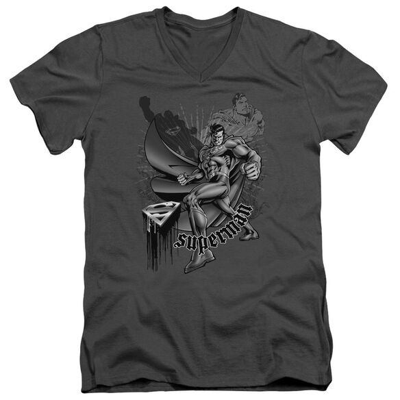 SUPERMAN FIGHT AND FLIGHT - S/S ADULT V-NECK - CHARCOAL T-Shirt