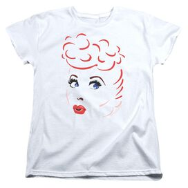 I Love Lucy Lines Face Short Sleeve Womens Tee White T-Shirt