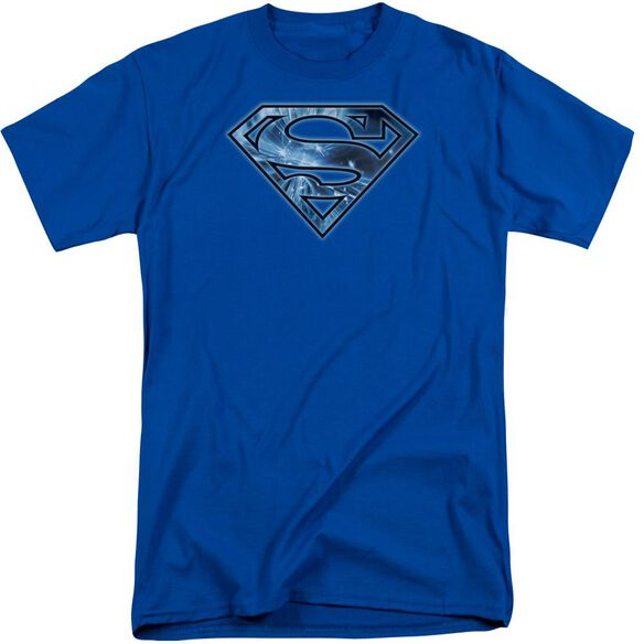 Superman On Ice Shield Short Sleeve Adult Tall Royal T-Shirt