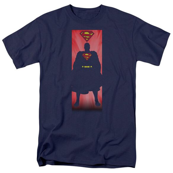 Superman Block Short Sleeve Adult Navy T-Shirt
