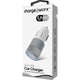 Chargeworx 2.4 Dual USB Car Charger [White/Silver]