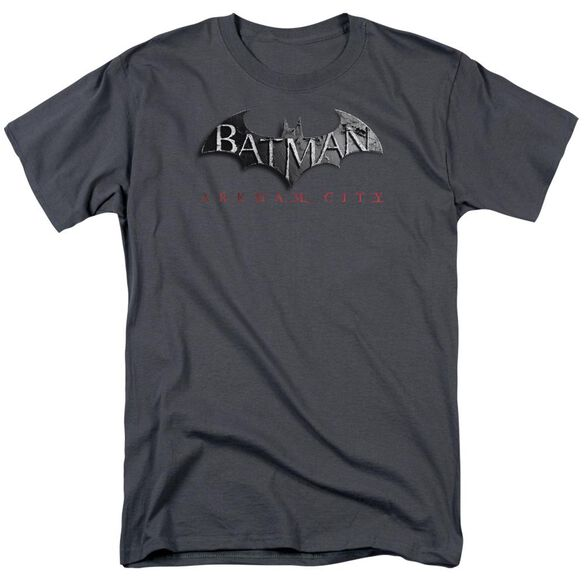 Arkham City Logo Short Sleeve Adult Charcoal T-Shirt