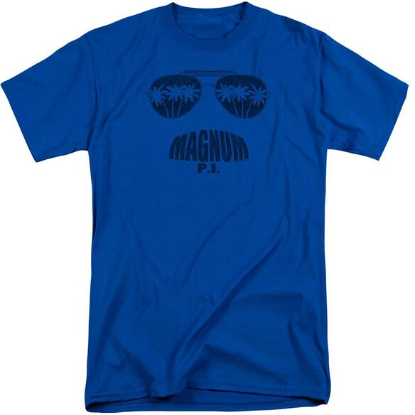 Magnum Pi Face It Short Sleeve Adult Tall Royal T-Shirt