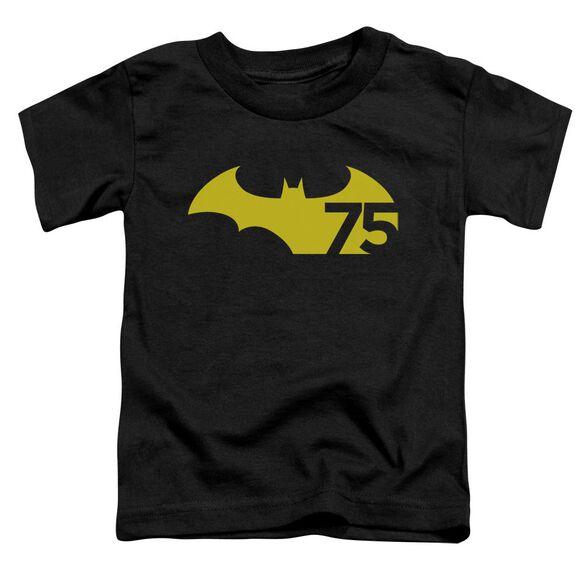 Batman 75 Logo 2 Short Sleeve Toddler Tee Black T-Shirt