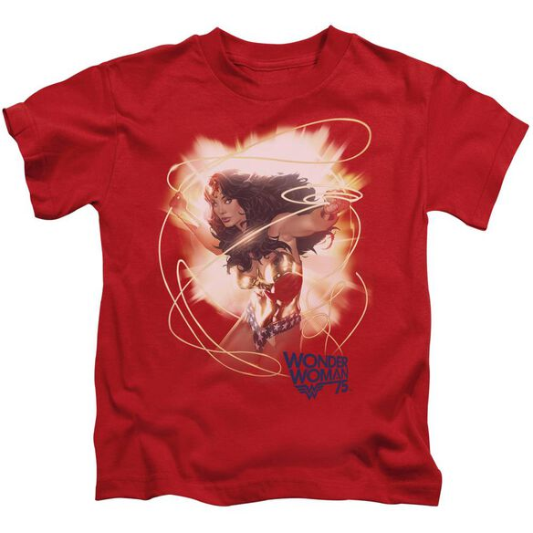 Wonder Woman 75 Th Burst Short Sleeve Juvenile Red T-Shirt