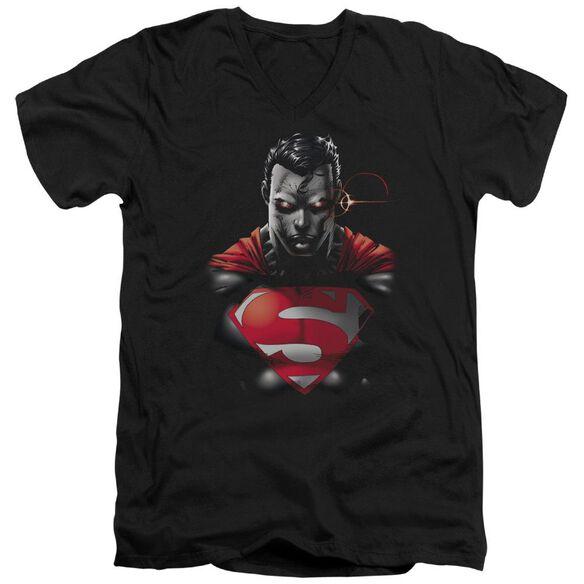 SUPERMAN HEAT VISION CHARGED - S/S ADULT V-NECK - BLACK T-Shirt