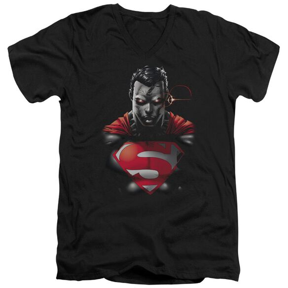 SUPERMAN HEAT VISION CHARGED - S/S ADULT V-NECK - BLACK T-Shirt