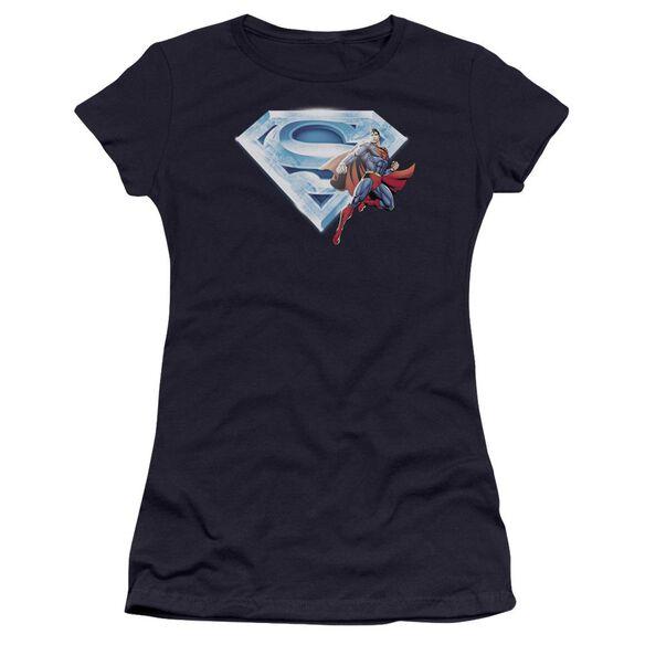 Superman Superman & Crystal Logo Premium Bella Junior Sheer Jersey