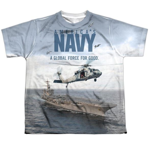 Navy Over And Under Short Sleeve Youth Poly Crew T-Shirt