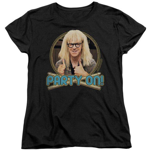 Snl Party On Garth Short Sleeve Women's Tee Black T-Shirt