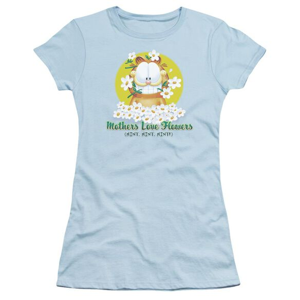GARFIELD MOTHERS LOVE FLOWERS - S/S JUNIOR SHEER - LIGHT BLUE T-Shirt