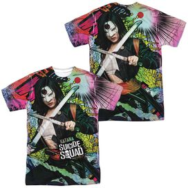 Suicide Squad Katana Psychedelic Cartoon (Front Back Print) Short Sleeve Adult Poly Crew T-Shirt