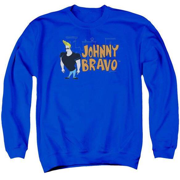Johnny Bravo Johnny Logo Adult Crewneck Sweatshirt Royal