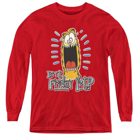 Garfield Friday - Youth Long Sleeve Tee - Red