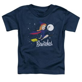 Bewitched New Moon Short Sleeve Toddler Tee Navy T-Shirt