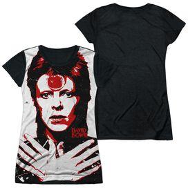 David Bowie Piercing Gaze Short Sleeve Junior Poly Black Back T-Shirt