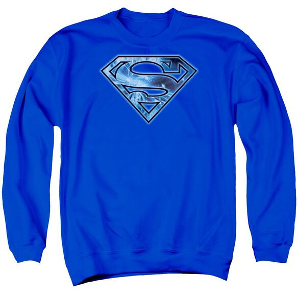 Superman On Ice Shield Adult Crewneck Sweatshirt Royal