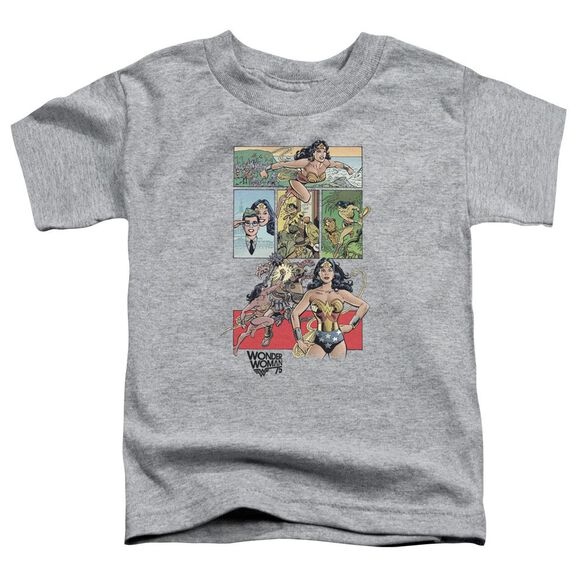 Wonder Woman Ww75 Comic Page Short Sleeve Toddler Tee Athletic Heather T-Shirt