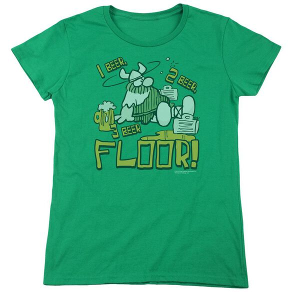 Hagar The Horrible 1 2 3 Floor Short Sleeve Womens Tee Kelly T-Shirt