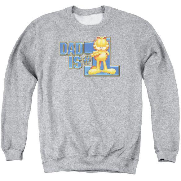 Garfield Dad Is Number One - Adult Crewneck Sweatshirt - Athletic Heather