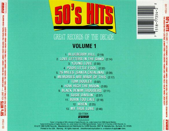 50's Pop Hits 1 / Various (Mod)
