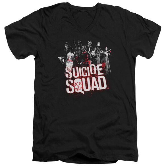 Suicide Squad Squad Splatter Short Sleeve Adult V Neck T-Shirt