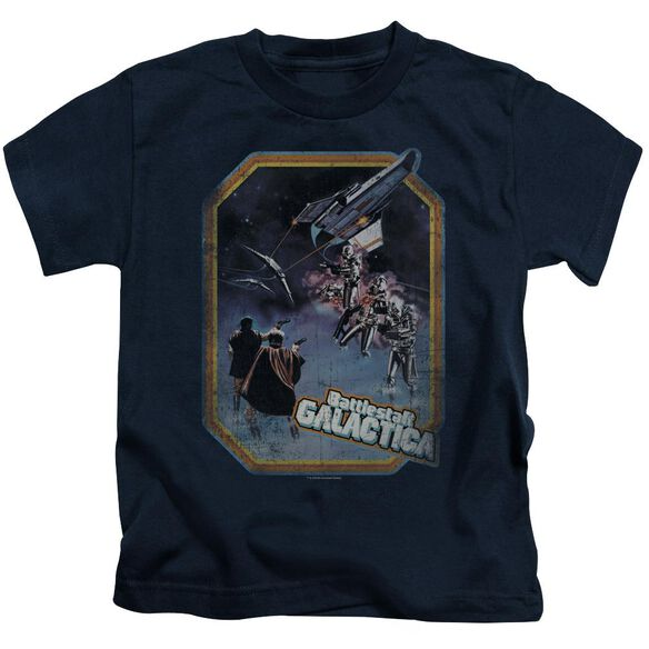 Bsg Poster Iron On Short Sleeve Juvenile Navy T-Shirt