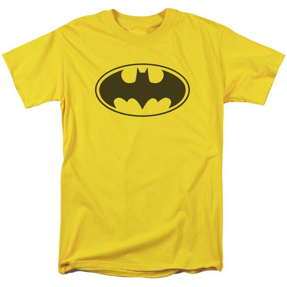 Batman Black Bat Short Sleeve Adult Yellow T-Shirt