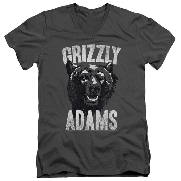 Grizzly Adams Retro Bear Short Sleeve Adult V Neck T-Shirt