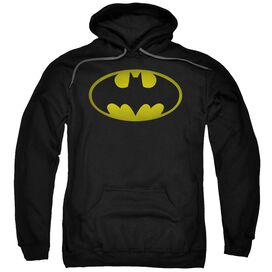 Batman Washed Bat Logo Adult Pull Over Hoodie Black