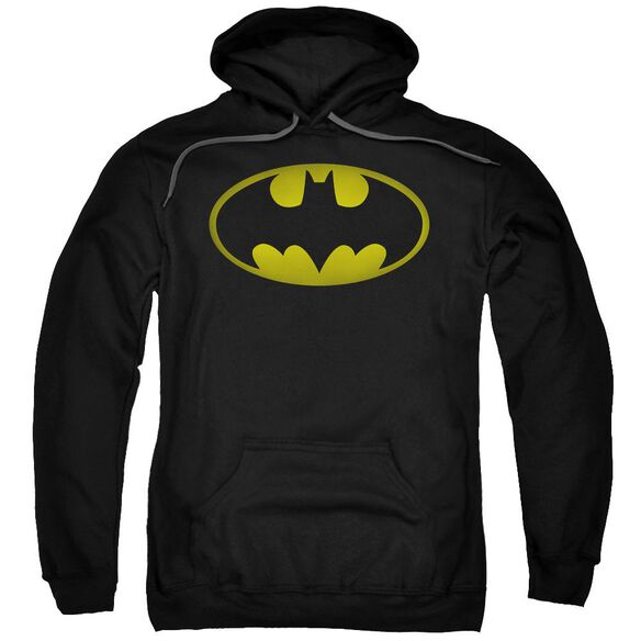 Batman Washed Bat Logo Adult Pull Over Hoodie Black