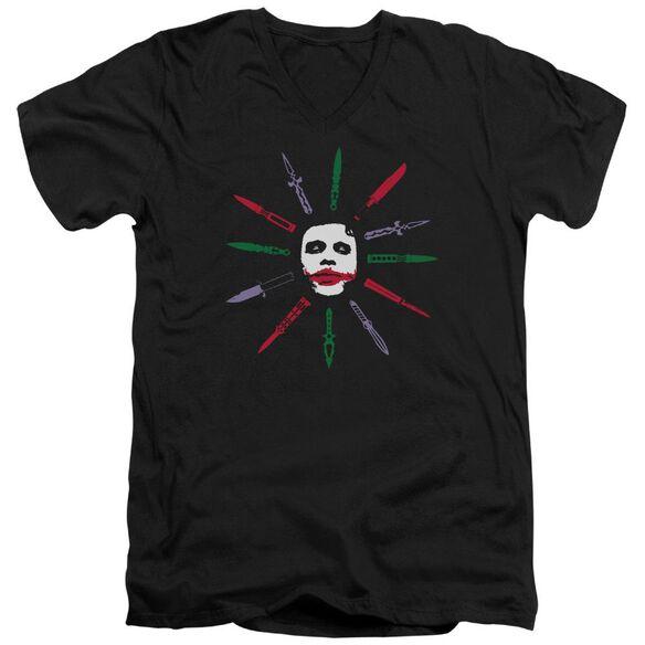Dark Knight Joke And Dagger Short Sleeve Adult V Neck T-Shirt