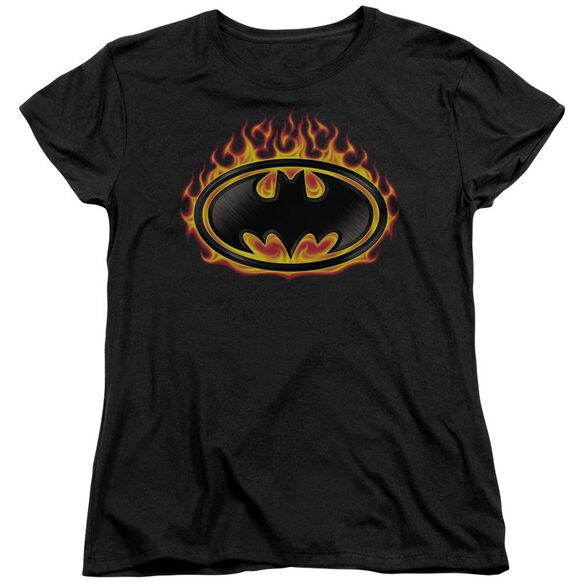 Batman Bat Flames Shield Short Sleeve Womens Tee T-Shirt