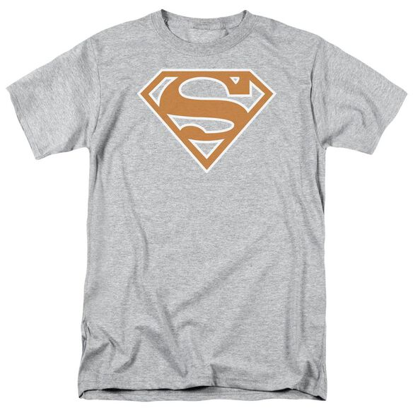 Superman Burnt Orange&White Shield Short Sleeve Adult Athletic Heather T-Shirt