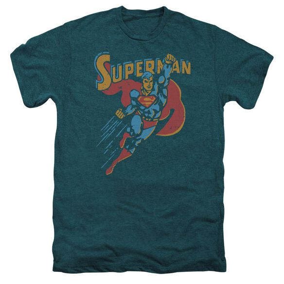 Superman Life Like Action Short Sleeve Adult Premium Tee Deep Teal T-Shirt