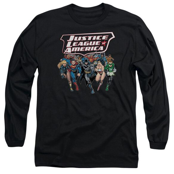 Jla Charging Justice Long Sleeve Adult T-Shirt