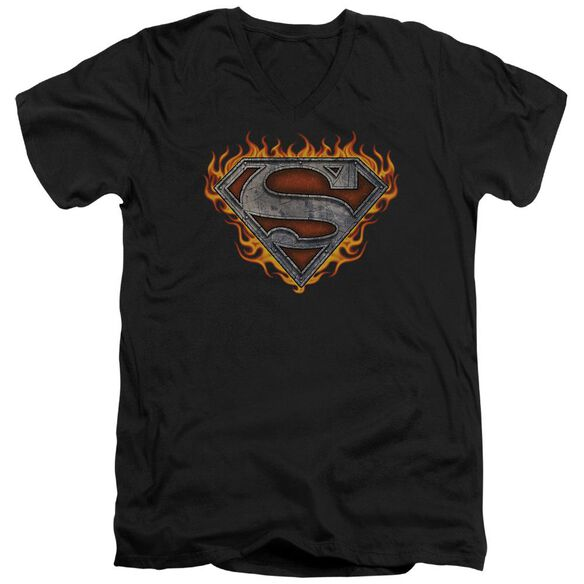 Superman Iron Fire Shield Short Sleeve Adult V Neck T-Shirt