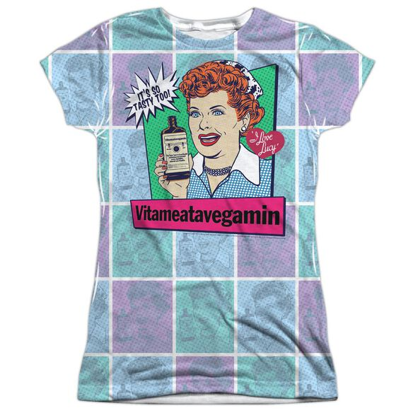 I Love Lucy All Over Vita Comic Short Sleeve Junior Poly Crew T-Shirt